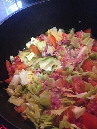 マリうみワンコ飯(トマト、キャベツ、豚肉、擦った人参)をダッチオーブンでコトコト
