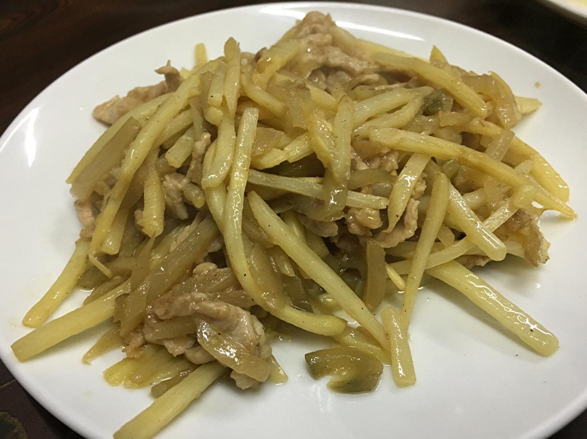 高菜と細切り豚肉炒め
