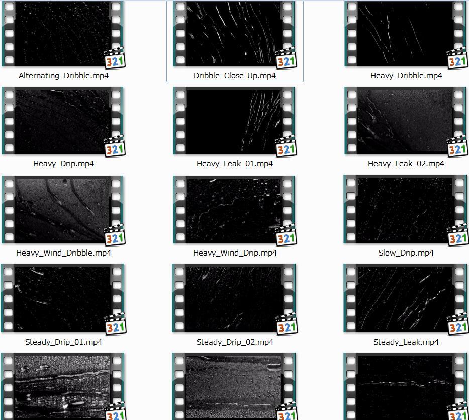 75个雨水高清2K视频素材(MVFX M WATER)