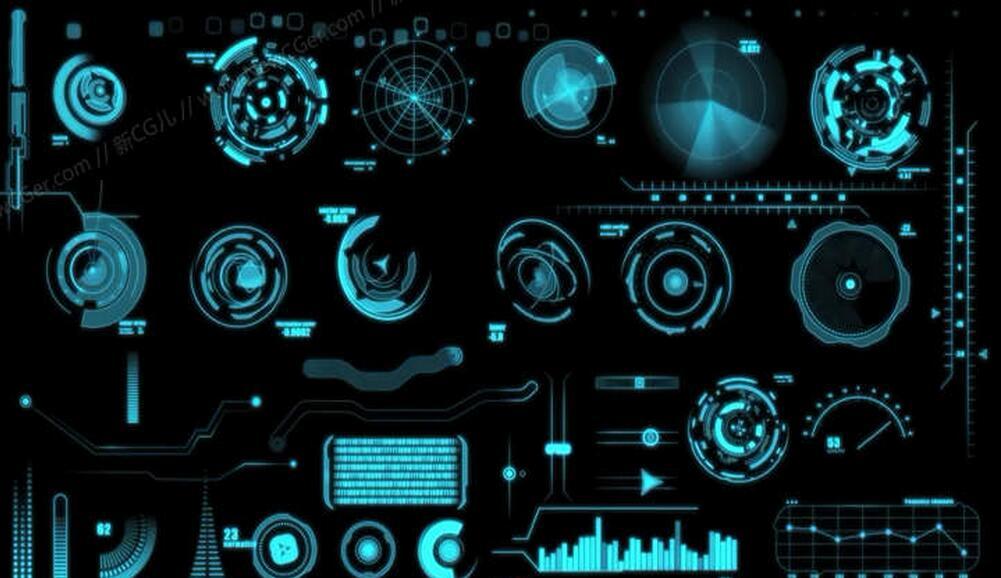 40枚超强科技装饰元素动画合辑AE源文件(Modular HUD Interface v 2.0)
