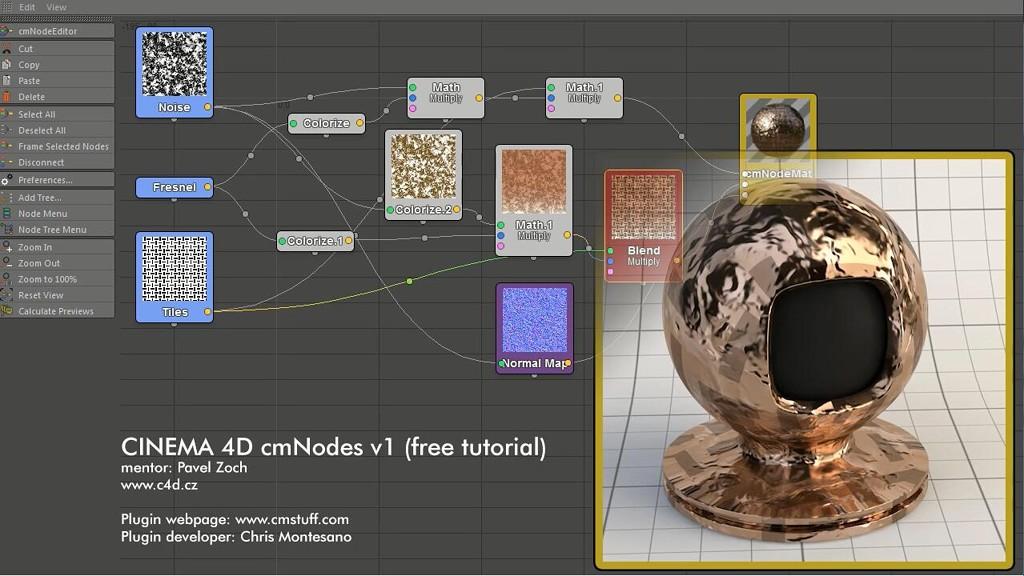 Cinema 4d节点材质编辑插件cmNodes v1教程及工程文件