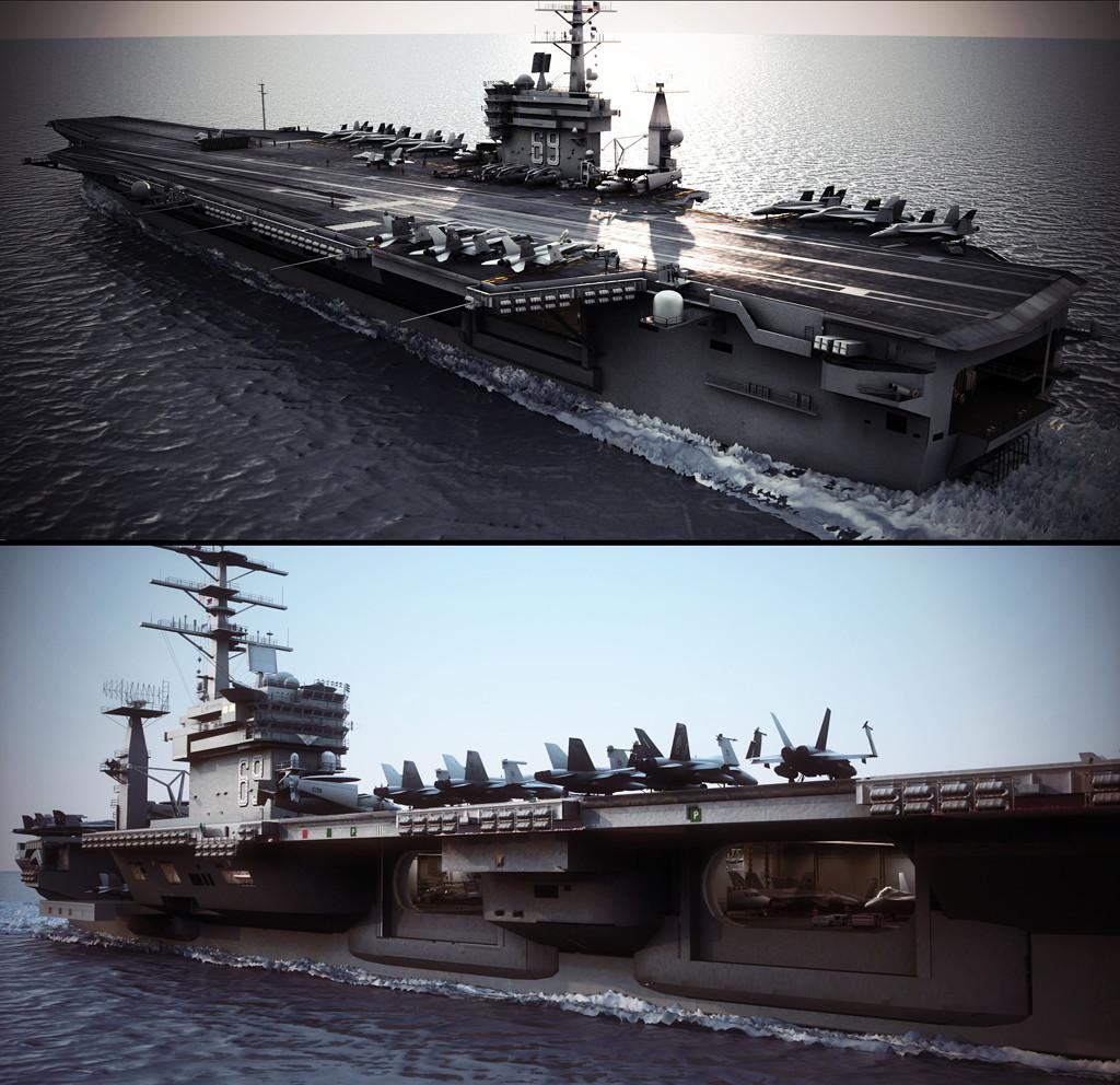 尼米兹号航空母舰航母和海军帕图克森特3D模型