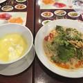 たっぷり野菜の濃厚冷やし担々麺と北海道産冷製コーンスープ(小)のセット