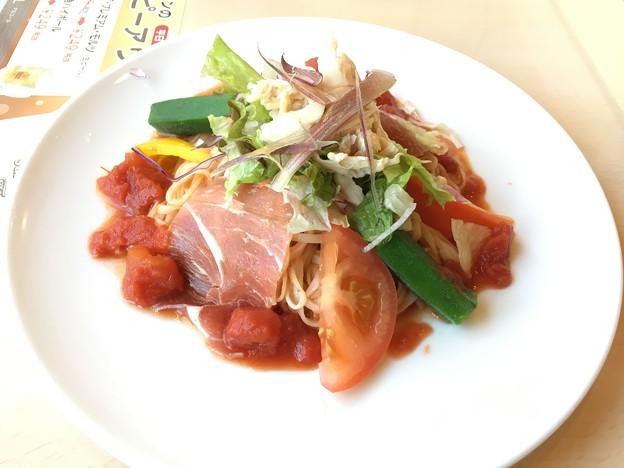 秋田無限堂 稲庭うどん たっぷり野菜と生ハムの冷製トマトソース