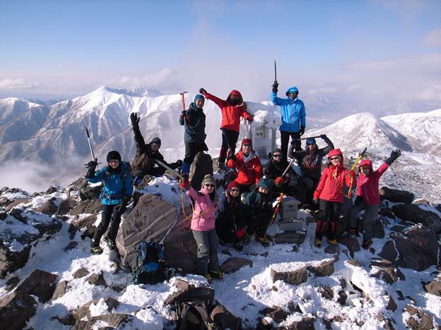 日本の山 雪山講習会 那須茶臼岳 STEP1・1班の参加者で。