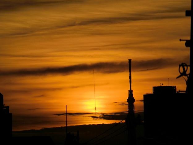 浮かび上がる朝日