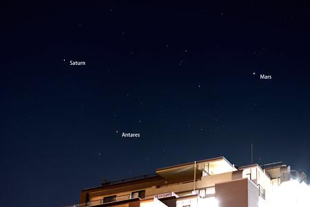 2016.6.1の火星、土星、アンタレス