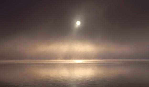霧の中の山中湖の日の出