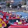 写真: 関川をはさんで