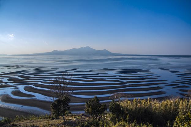 砂紋と雲仙普賢岳