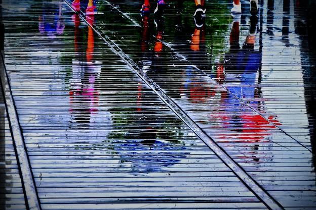 雨の汽車道。