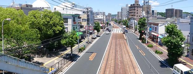 皆実陸橋から広島電鉄 皆実線 比治山線 国道487号 終点手前