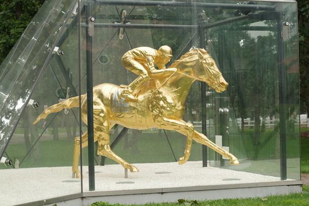 フサイチペガサス号の黄金像