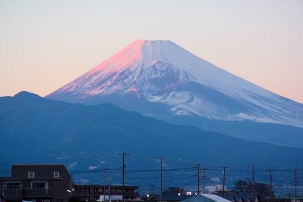 1月25日伊豆の国市からの夕方富士山~綺麗な紅富士でしたね(^ ^)