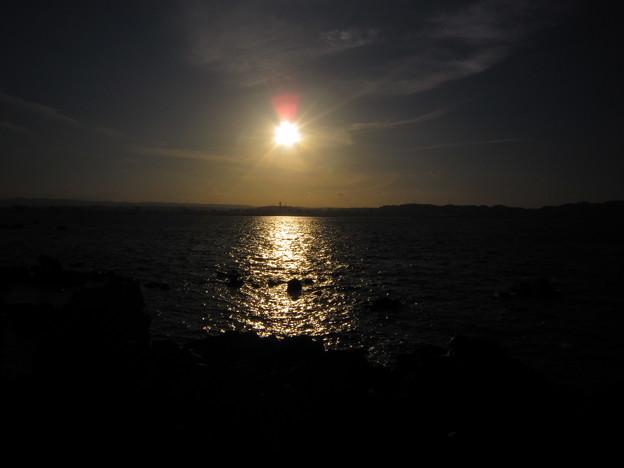 錦江湾に沈む夕日