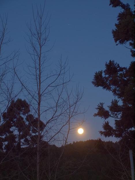 写真: 沈む月