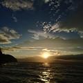 江の島で見た夕陽