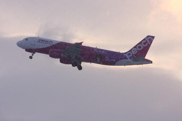 A320 JA814P Rune雪の中をtakeoff