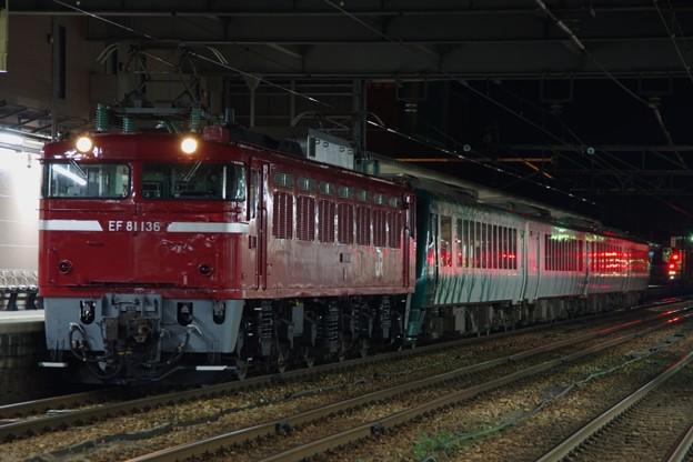 """EF81 136+HB-E300系""""リゾートしらかみ 橅編成 鉄道博物館展示返却配給"""