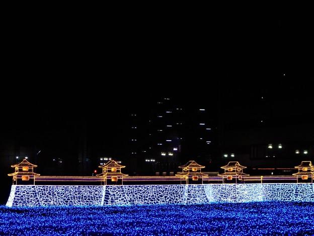 築城450年記念の三原城(浮城)イルミネーション1