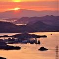 しまなみ海道の夕陽 in 高見山展望台