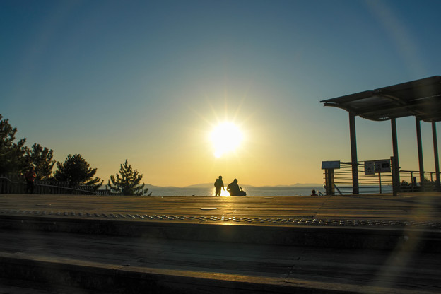 写真: 日没を待つ親子