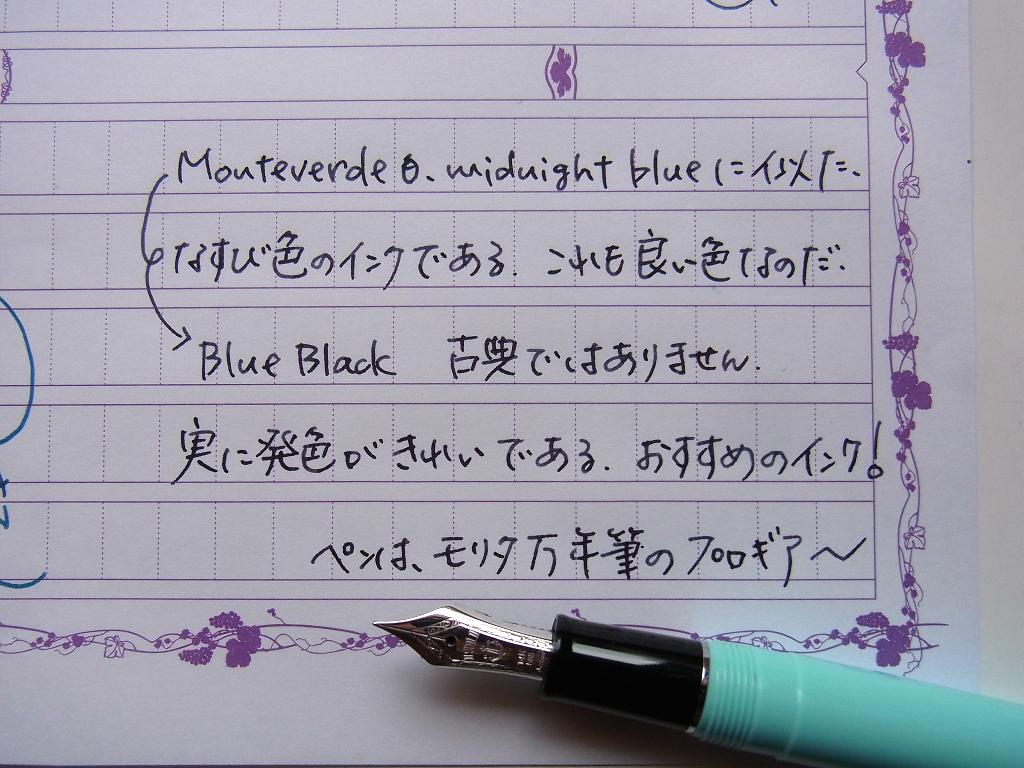 MONTEVERDE BlueBlackを入れたモリタ万年筆店オリジナル プロギアスリムでふたふで箋に落書き