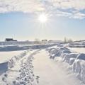 写真: 朝陽輝く白の世界