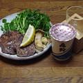 Photos: IMGP4328東広島市、亀齢と牛タンステーキ天然クレソン添え