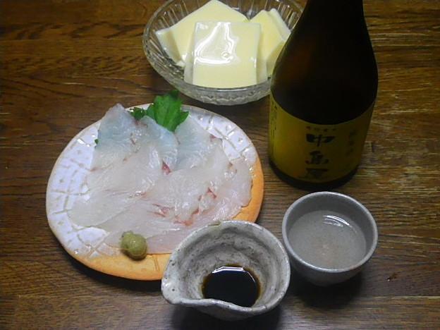 RIMG4516周南市、純米酒中島屋とヒラメのお造りと卵豆腐