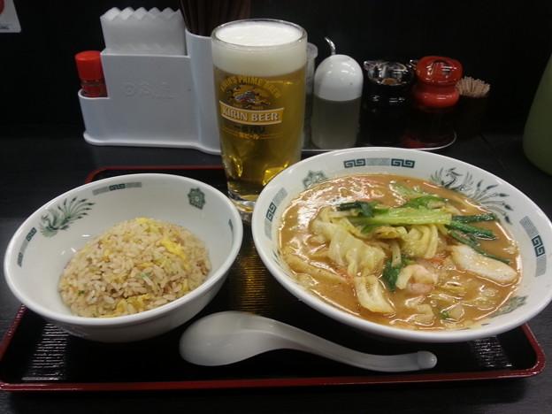日高屋 海老味噌ラーメン+半チャーハン  ボッチオフ会(^_^)/□☆□\(^_^)