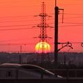 夕陽と北陸新幹線