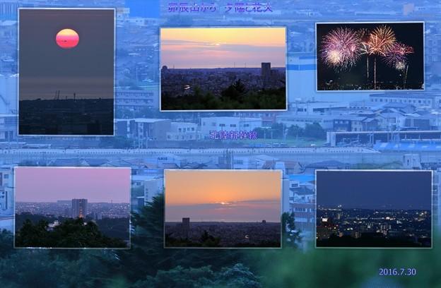 卯辰山から夕陽と花火 北陸新幹線