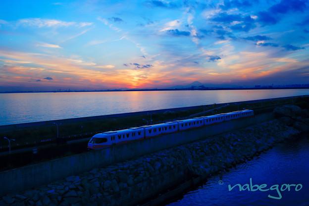 ディズニー列車とゲートブリッジに富士山