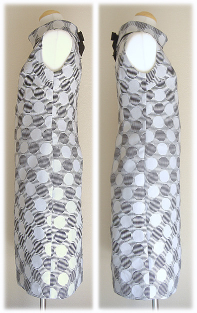 タートルネックのノースリーブ水玉ワンピースを手作りしました●○ドット柄☆ハンドメイド_b