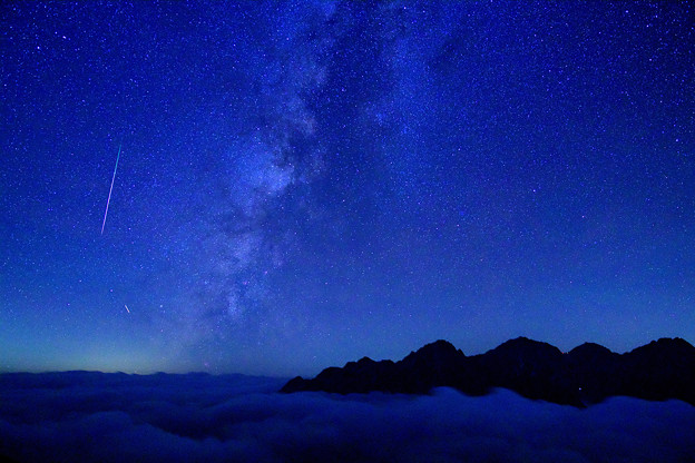 穂高連峰と天の川銀河