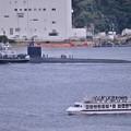 原子力潜水艦ハワイ横須賀基地出航と軍港めぐりの船・・20140824
