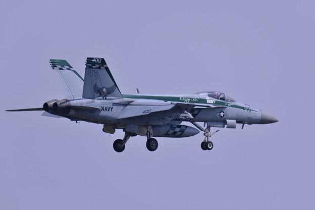 Photos: ある日の厚木基地 ランウェイ19アプローチするVFA-195DAMBUSTERS NF400・・20150428