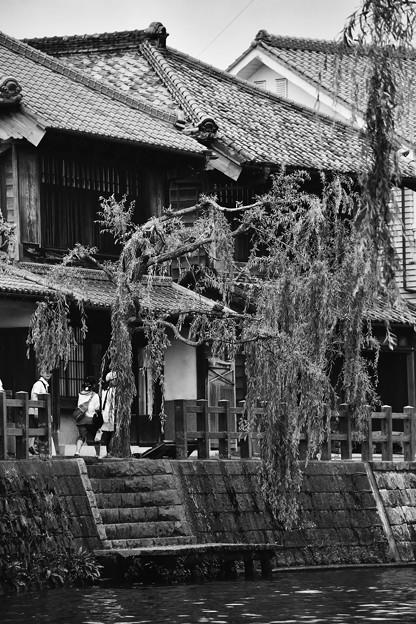 撮って出し。。千葉県香取市佐原の町並み モノクロ 7月17日