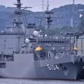 軍港めぐりの遊覧船に乗り。。田浦港の海洋観測艦わかさ。。20160619