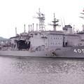 軍港めぐりの遊覧船に乗り。。潜水艦救難母艦ちよだ。。20160619