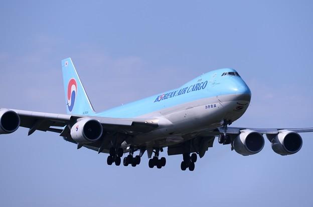成田空港。。さくらの山公園にて大韓航空カーゴB747-400