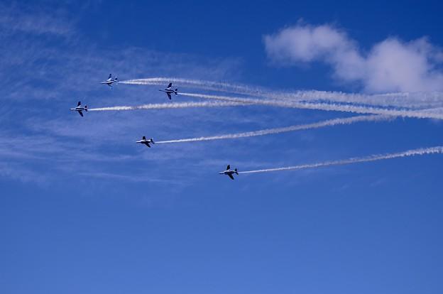 三沢基地航空祭予行練習 トレイル体形からチェンジオーバーターンへ移行