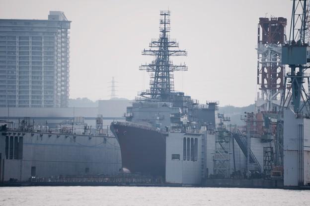 横浜造船所 ドライドックに護衛艦むらさめ 改修中 20160925