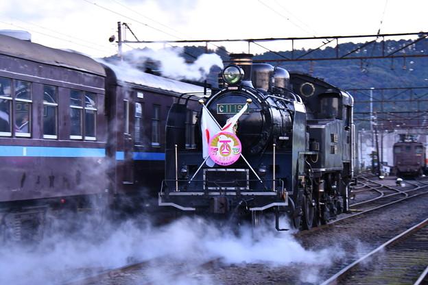新金谷駅の車庫へバック走行する大井川鉄道SL C11190。。20170101