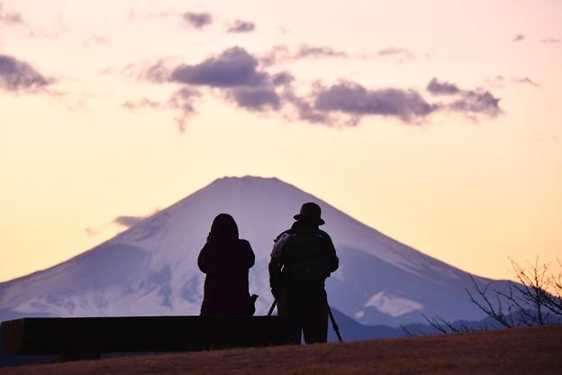 綺麗な夕焼けの富士山を。。吾妻山公園20170121