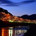 日没後へ河津川沿い河津桜ライトアップ。l20170218
