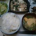 Photos: 夕食 豆腐の肉野菜あんかけにひじき煮&サラダ他でした