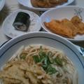 Photos: 夕食 舞茸天ぷらうどんに手羽先照り煮&〆さば巻寿司他でした