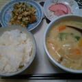 Photos: 夕食 クリームシチューに納豆と卵の炒め物&漬物ほかでした